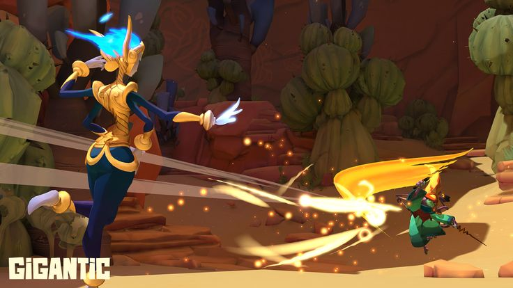 Vadasi and Mozo trade deadly beams of magic in a Gigantic battle.