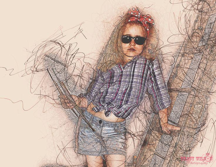 Rockabilly girl - in pencil strokes