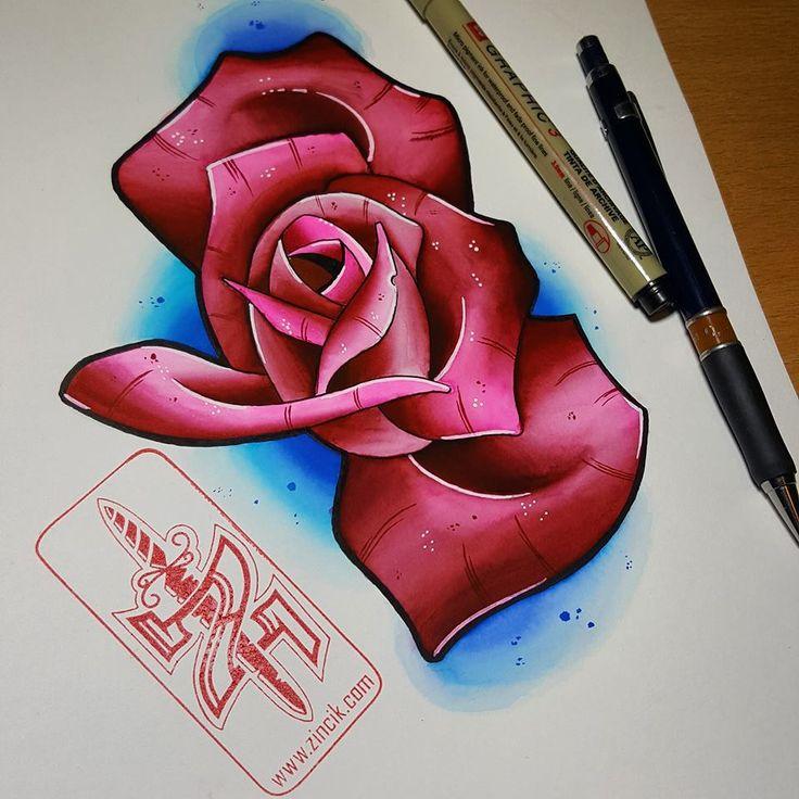 Martin Tattooer Zincik - Czech Tattoo Artist - Rose Neo Traditional tattoo design, watercolor painting, Tetování Praha / Brno