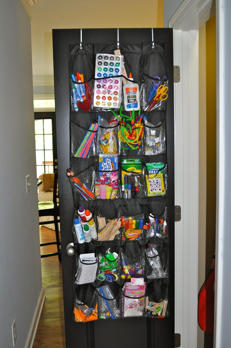 Craft supplies organization ideas - Over The Door Shoe Organizer For Storing Art And Craft Supplies This Would Make Tidying