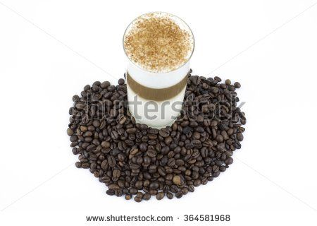 Coffee in three colors and roasted coffee beans