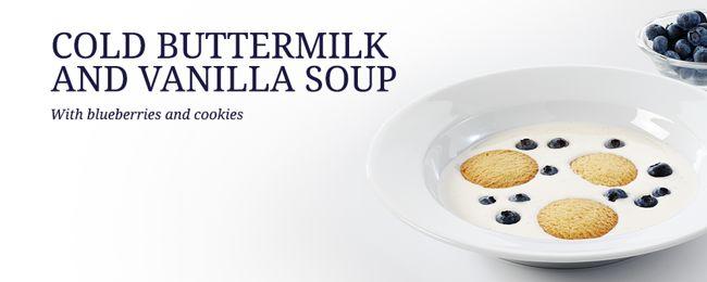 Cold buttermilk and vanilla soup