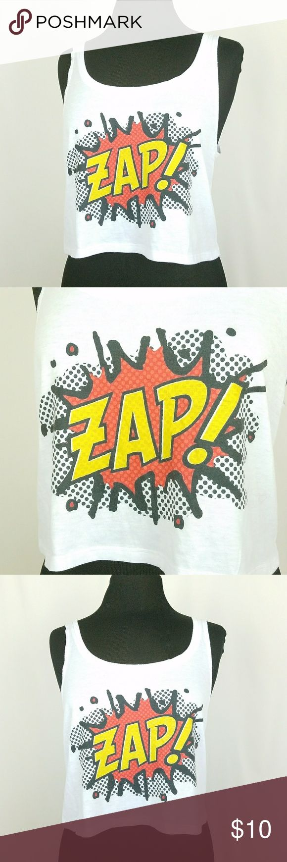 Comic book crop top size small Size small ZAP! Comic book design crop top. Size Small. Good used condition Freshtops Tops Crop Tops