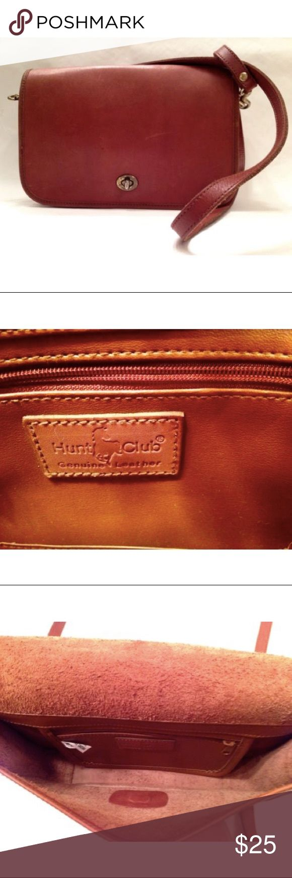 "Hunt Club All Leather Medium Cross Body Handbag Inside zip pocket. H: 7"", W: 10"", D: 2 1/2"". Shows slight wear from normal use. Hunt Club Bags Crossbody Bags"