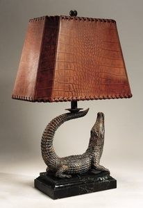 Maitland Smith 1753-832 Finely Cast Verdigris Patina Brass Crocodile Lamp with Embossed Leather Shade