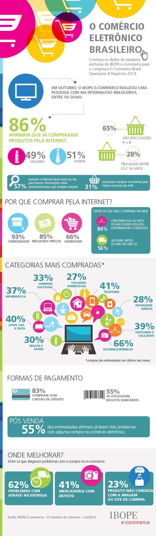 Infográfico feito pelo IBOPE mostrando dados sobre o E-Commerce brasileiro em 2013