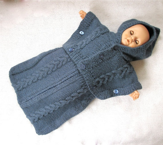Cable Knit  Wool  Sleeping Bag for Baby Boy  Extra by woolsolution, $85.00