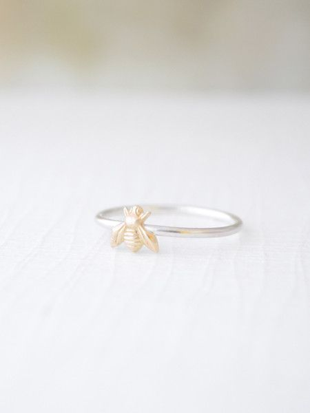Tiny Bee Ring - The perfect gift for a bee-lated birthday! This adorable little brass bee sits on a sterling silver band. By Olive Yew. #belatedbirthdaygift