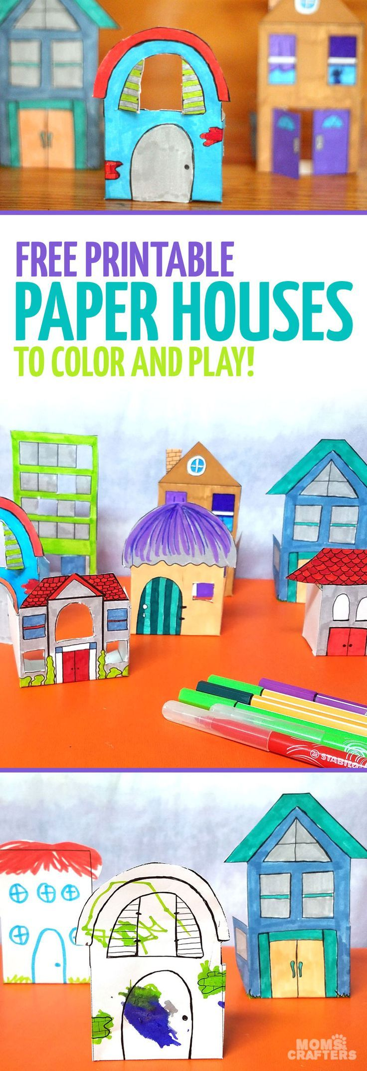 Craft sets for kids - Print And Craft Some Paper Houses