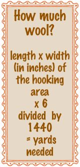 How much wool? length x width (in inches) of the hooking area x 6 divided by 1440 = yards needed