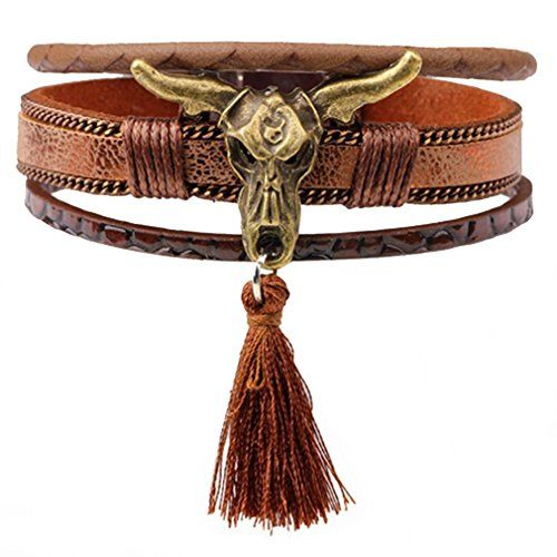 PopJ Tribal Cow Skull Bracelet with Tassel Good Matching Magnetic Clasp Wristband 7.6 Inch Bracelet arrives in a charm Handcrafted Gift Bag  Length :7.6 Inch(19.5cm), Weight: 23g;  Hand-crafted; High quality durable leather material  Magnetic Clasps, easy to wear on  100% Satisfaction Guaranteed; PopJ offer 30-days refund or replacement service for every PopJ product
