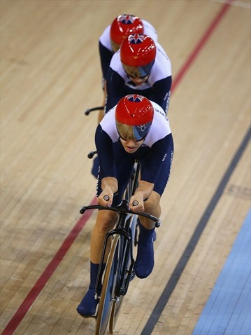 Dani King, Laura Trott and Joanna Rowsell of Great Britain compete as they set a new world record in the Women's Team Pursuit Track Cycling qualifying