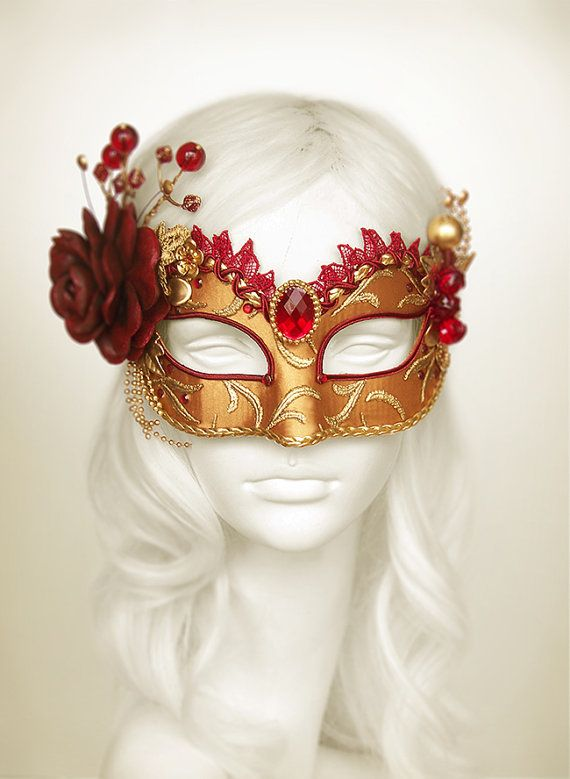Burgundy, Red And Gold Masquerade Mask - Venetian Style Masquerade Ball Mask With Rose, Leaves And Branches Decoration