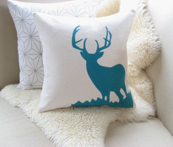 Deer Decorative Pillow Cover Mod Turquoise/Teal by VixenGoods, $52.00