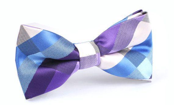 Men's Bow Tie PreTied Checkered Purple Blue X088BT OTAA by OTAA, $19.99-- Jessica! Ha.