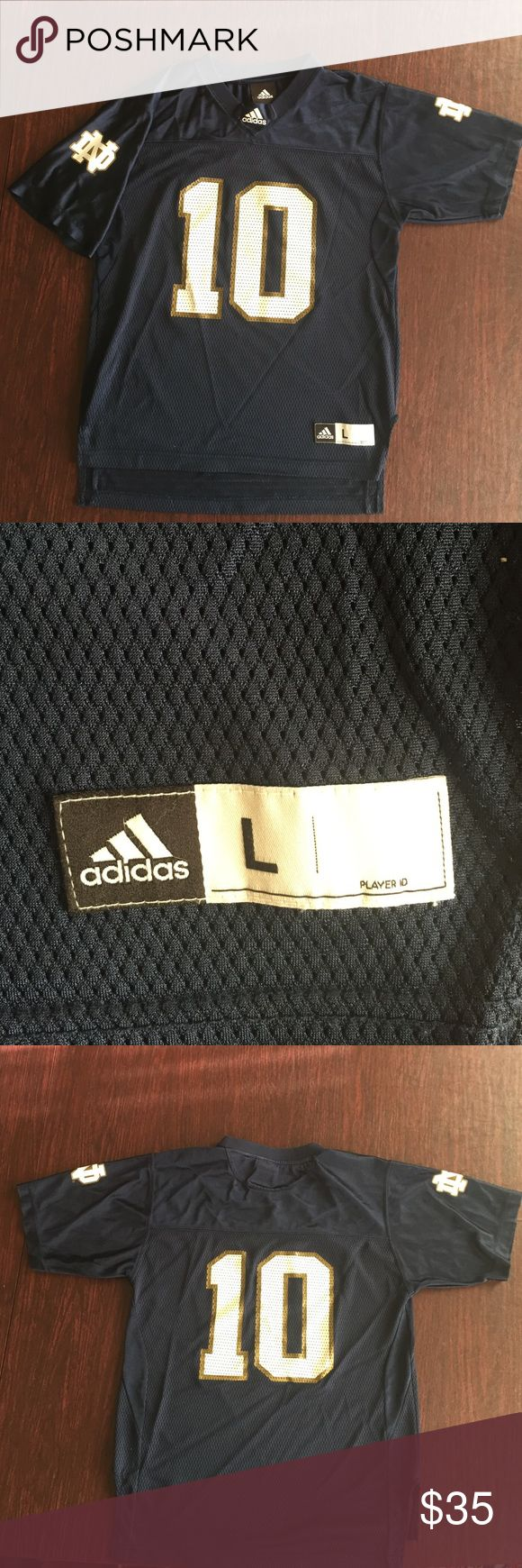 Official Notre Dame Jersey Official Adidas #10 Notre Dame jersey. Youth L but can still be worn by women. Lightly worn no marks or imperfections 🍀 Adidas Shirts & Tops