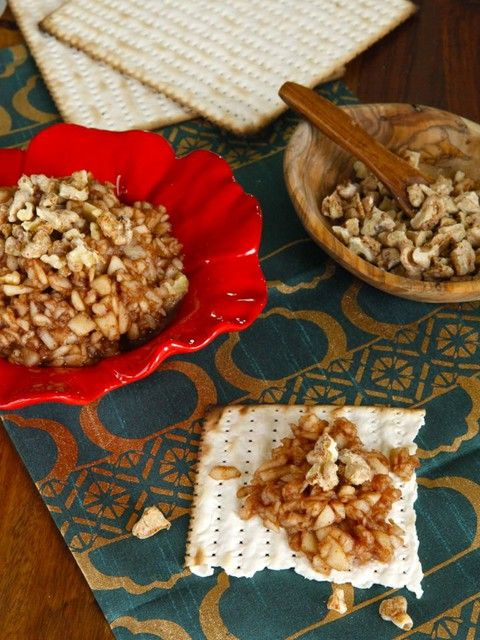 """Passover seder """"Ashkephardic"""" charoset recipe from Shiksa in the Kitchen. Made with pureed dates, apples and walnuts."""