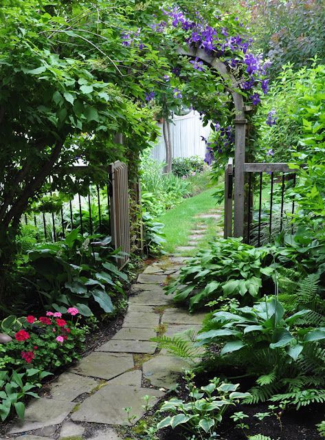 Beautiful garden path - Clematis on the archway, flagstone walkway, impatiens & hostas