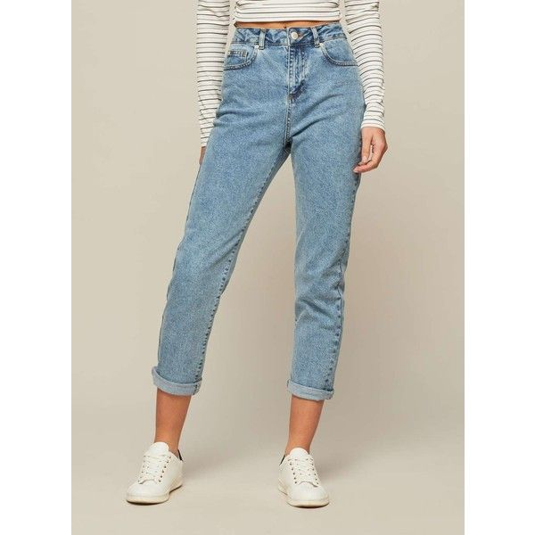 Miss Selfridge PETITE MOM Jeans (€42) ❤ liked on Polyvore featuring jeans, blue, petite, miss selfridge, blue jeans, miss selfridge jeans, petite blue jeans and petite jeans