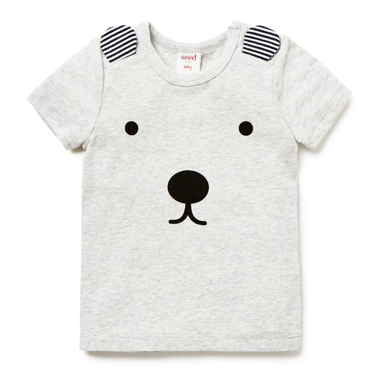 Cotton/Elastane blend Tee. Short sleeve t-shirt, features printed bear face on front and applique ears. Regular fitting silhouette with snaps on baby