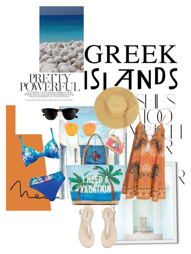 """Greek"" by ibeendopee ❤ liked on Polyvore featuring Rika, West Elm, Naturana, Kiss The Sky, Kate Spade, Ray-Ban, Dolce&Gabbana, Packandgo and greekislands"