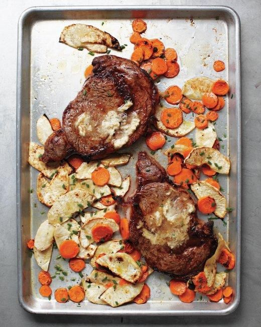 Rib Eye with Horseradish Butter and Root Vegetables Recipe: Recipe, Horseradish Butter, Maine Dishes, Roots Vegetables, Ribs Eye, Suppers, Martha Stewart, Sheet Pan, Root Vegetables