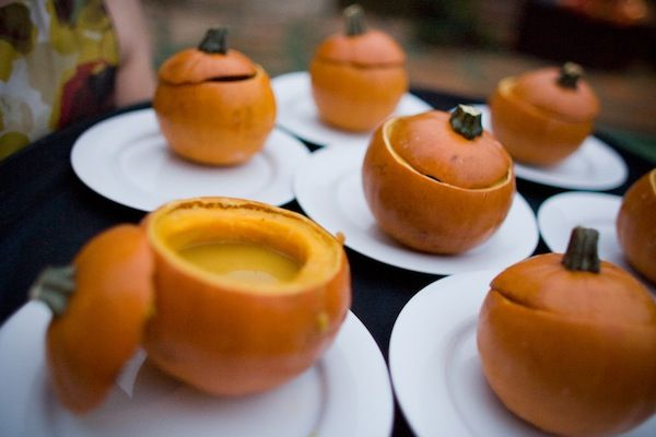 Fall catering idea - soup in real pumpkins! | Eco-Friendly Fall Wedding Menu Ideas From Santa Barbara | Green Bride Guide