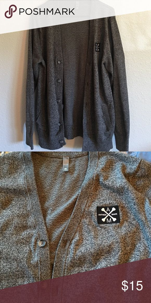 Anthem Made cardigan Gray button up cardigan with two pockets on the outside. EUC. Anthem Made Sweaters Cardigan