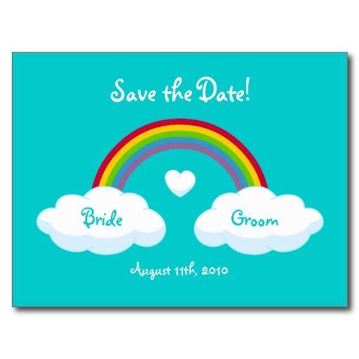 Wolken und Regenbogen - Save the Date Karte Postkarten