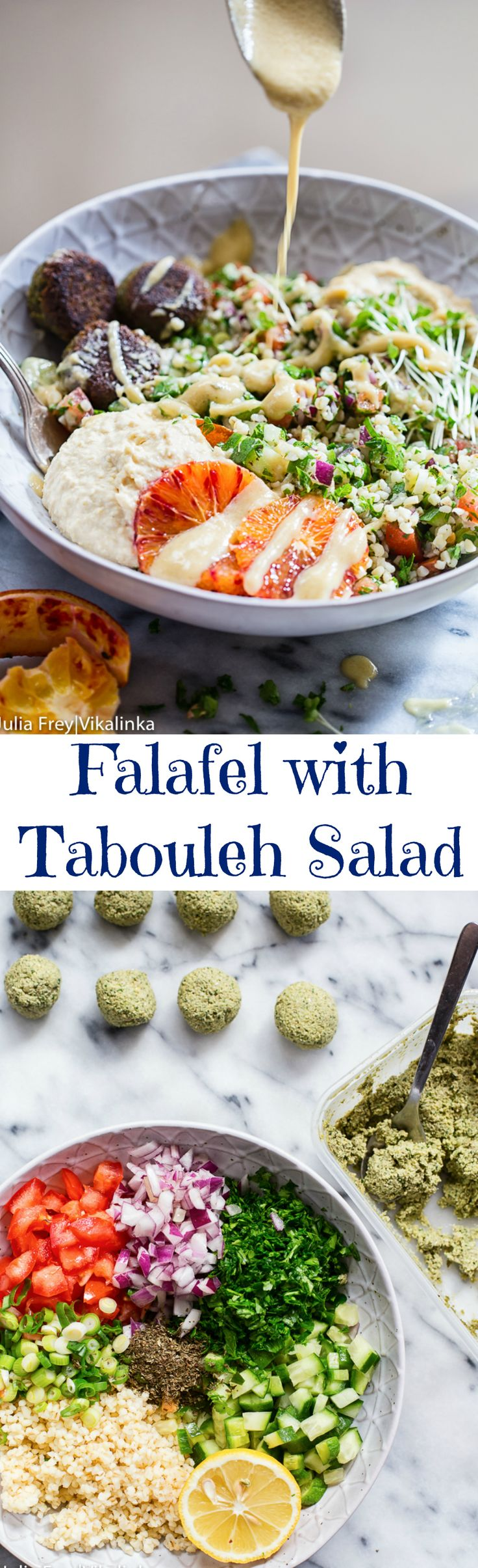 This colourful bowl of falafel with tabouleh, hummus and baba ganoush drizzled with garlic tahini dressing will make any ordinary lunch into an event!