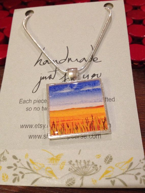 Hand Painted Resin Pendant  Wheat crop landscape by madebyshan, $35.00