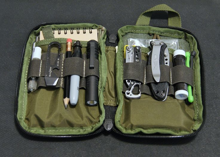 I carry this EDC kit (Maxpedition Mini) in my EDC Bag (Maxpedition Fatboy Versipack). * StreamLight MicroStream flashlight, spare AA battery * Leatherman Style Multi-tool * Kershaw Scallion knife * Sharpie, pencil, Parker pen w/ Space pen refill * Nite Ize Doohickey * Mini S carabiner * Rite-in-the-Rain notebook * paper clips * Zip ties * Nite Ize Gear Ties * Lens Cleaner * Spare house key *
