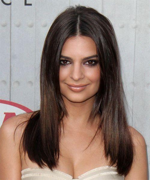 Emily Ratajkowski Long Straight Casual Hairstyle Dark