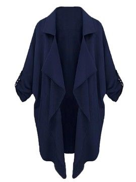 Shop Navy Lapel Roll Up Sleeve Open Front Trench Coat from choies.com .Free shipping Worldwide.$16.99