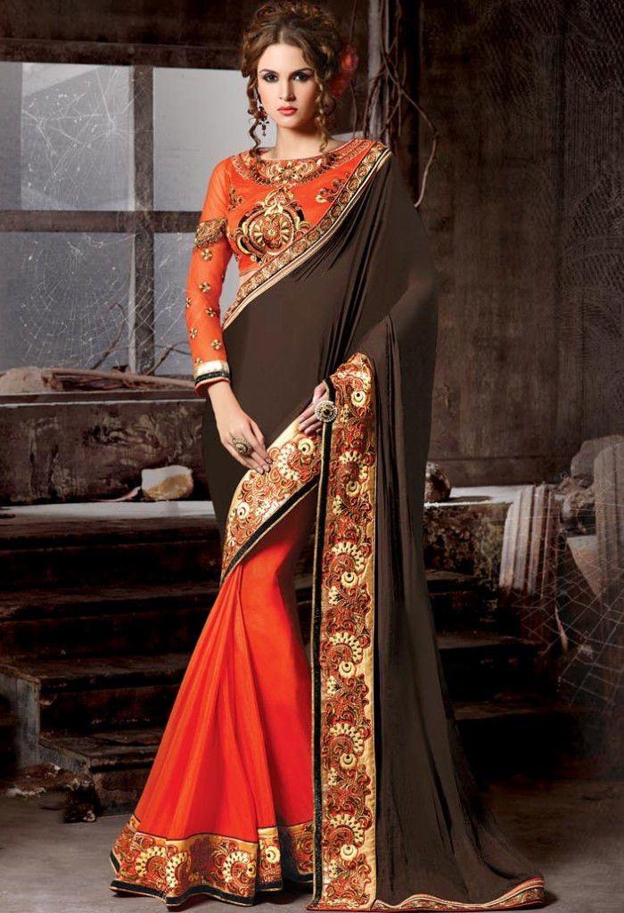 Orange Georgette Designer Saree 11006