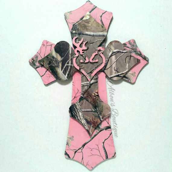 RealTree Camo Layered Cross with Browning Deer by AlbonsBoutique