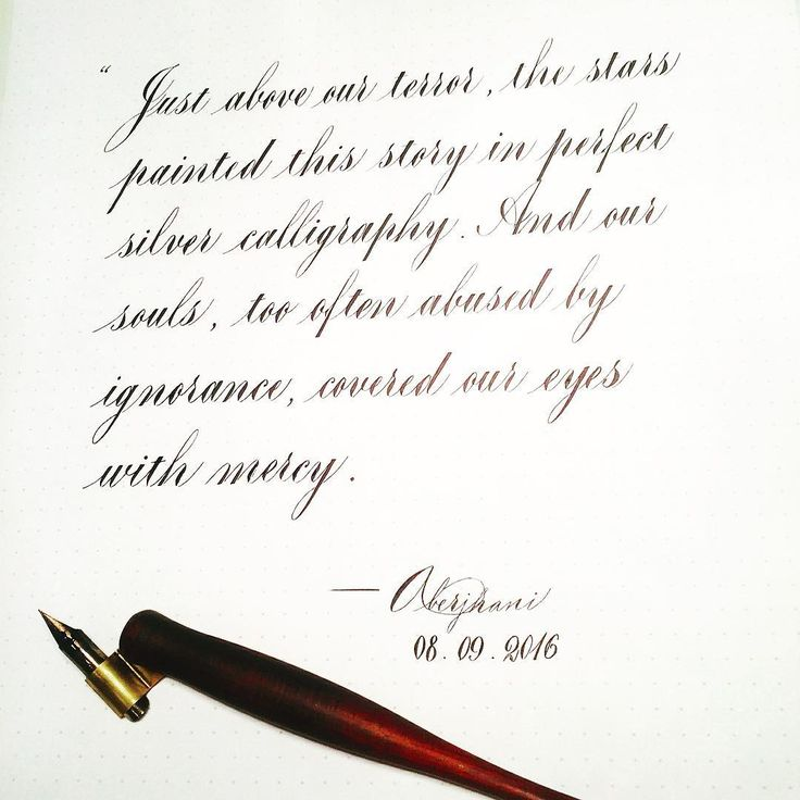 """Quotes for year 2016: """"Just above our terror, the stars painted this story in perfect silver calligraphy. And our souls, too often abused by ignorance, covered our eyes with mercy."""" ― Aberjhani, from I Made My Boy Out of Poetry  Post by 107ying melbourneluxe, gipsy_nsk, wordwonky, scribesapprentice, liu_moomoo and ki_ki_____________ like this 5w •1107yingMy#everyday #quotation #calligraphy Day252 #melbournecalligraphy  By#aberjhani"""