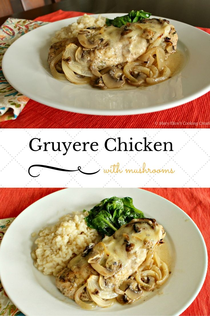 Only 15 minutes of active time! Gruyere Chicken with Mushrooms in a ...