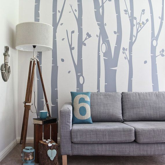 Birch Tree Forest WAS 84.99 Vinyl Wall Sticker | 350 x 240 cm / 138 x 94 inches by vinylimpression. Explore more products on http://vinylimpression.etsy.com