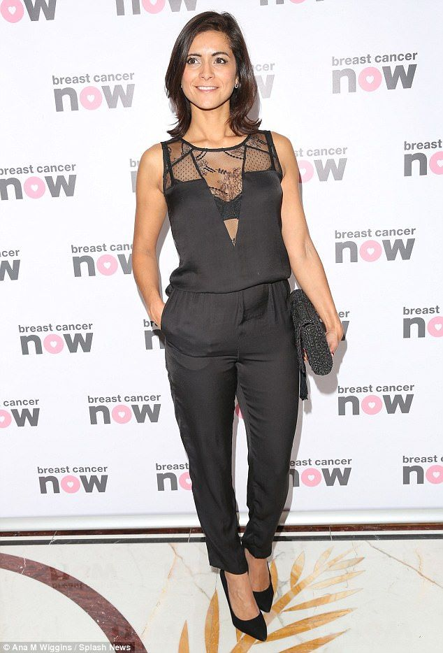 All-black: ITV's Lucy Verasamy, 37, looked outstanding in a black all-in-one with lace de...
