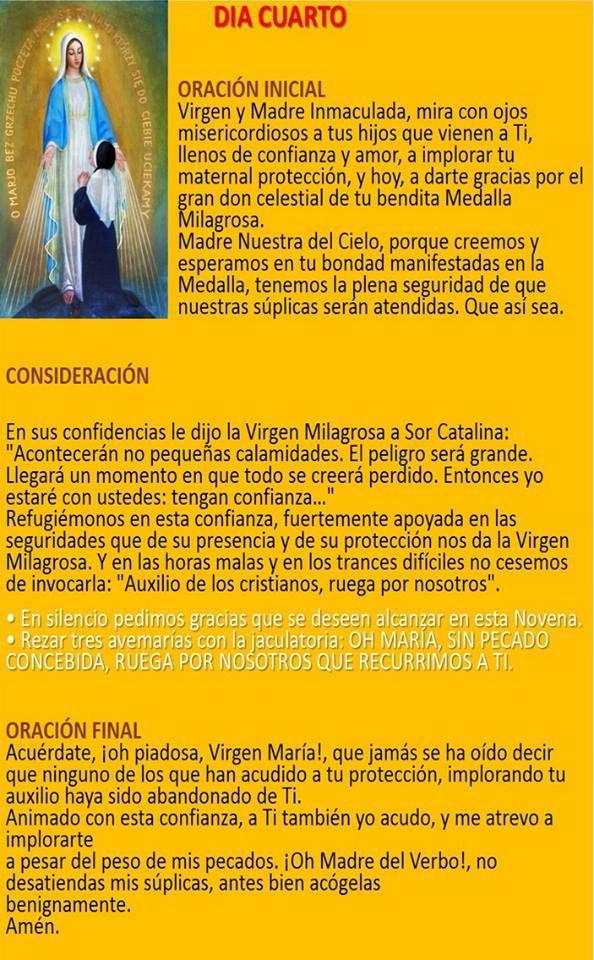 DÍA CUARTO – NOVENA A LA VIRGEN DE LA MEDALLA MILAGROSA  Oh María, Sin Pecado Concebida…