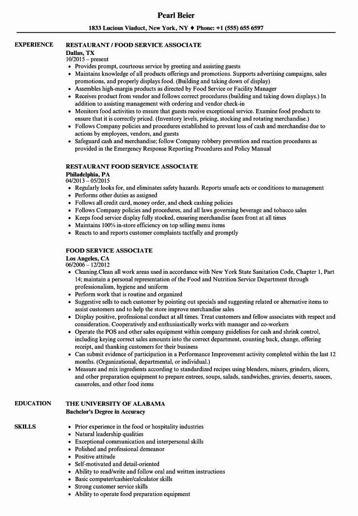 Food Service Job Description Resume Fresh Food Service