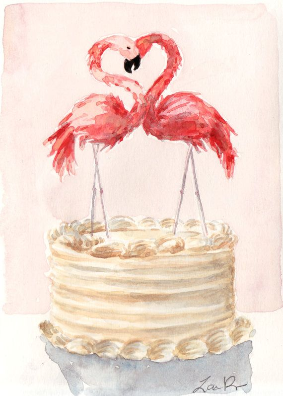 Pink Flamingo Cake Love Birds  Giclee Print of by LauraRowStudio, $13.00