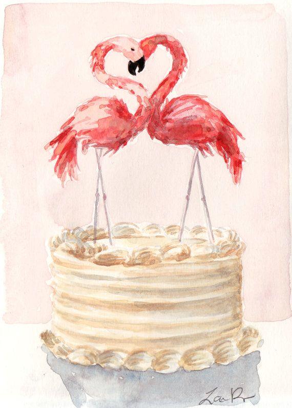 Stampa artistica di pittura originale dellacquerello di una piccola torta nuziale condita con fenicotteri rosa brillanti, pennuti e favolosi, un