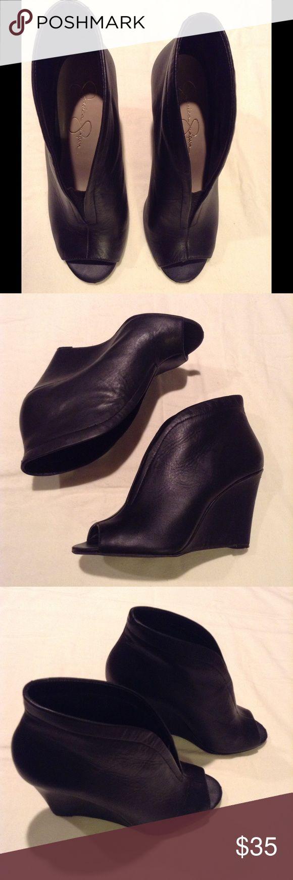 Jessica Simpson black open-toe wedge booties  Black open-toe wedge booties, genuine leather 4inch heel, Jessica Simpson. Very good condition! ❤️ Jessica Simpson Shoes Ankle Boots & Booties