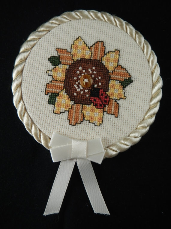 Handmade Country Sunflower and Ladybug Finished Cross Stitched Wall Art