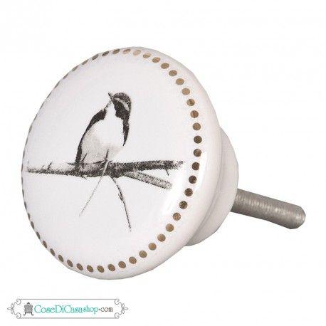 """Pomello """"Bird"""" in ceramica bianca diam. cm 4"""
