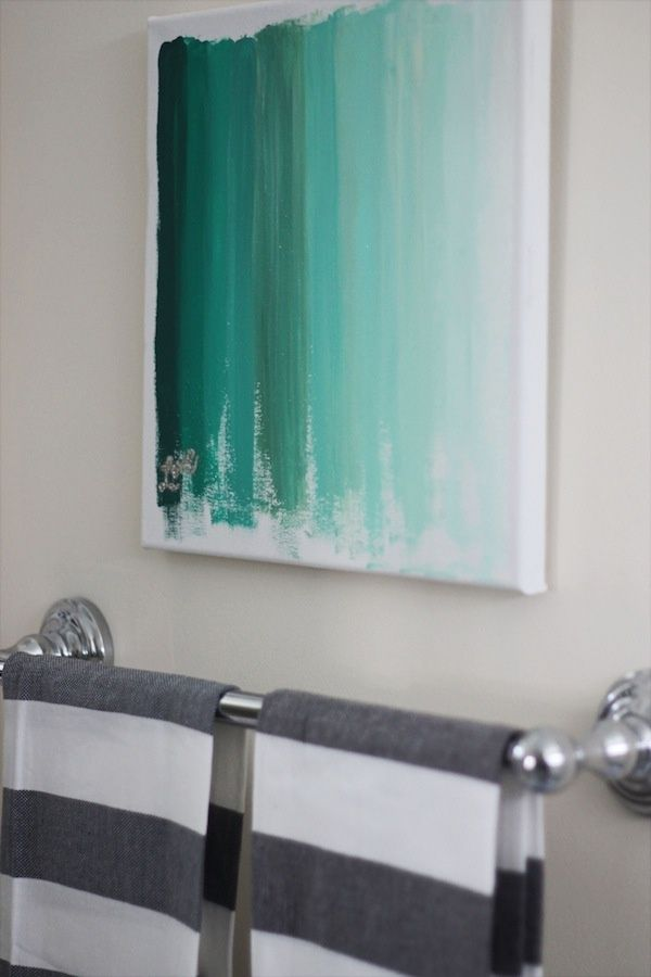 Turquoise ombre canvas wall art. Something like this with a silhouette of the kids in the bottom right?