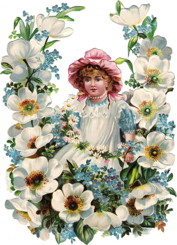 Oblaten Glanzbild scrap die cut chromo Kind child  24cm Blumen Kranz wreath