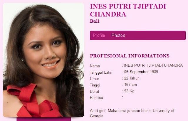 Miss Indonesia 2012 akhirnya membuahkan pemenang baru. Ines Putri Tjiptadi Chandra, finalis asal Bali berhasil meraih gelar Miss Indonesia 2012.Pesona Ines begitu menonjol sejak awal perhelatan malam puncak Miss Indonesia yang diselenggarakan di Hall D2 JIExpo, Kemayoran, Jakarta, Sabtu (28/4/2012).